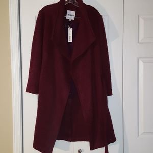 Bb Dakota burgundy wrap coat size medium NWT